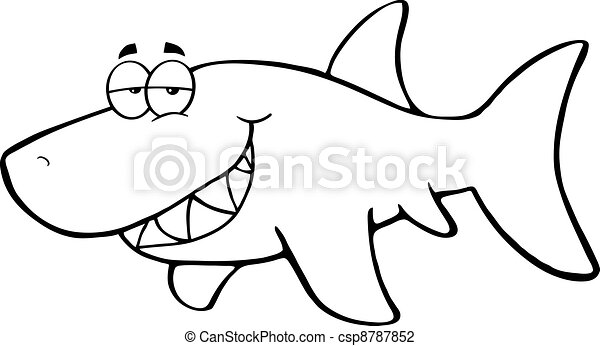 Outlined Happy Shark - csp8787852