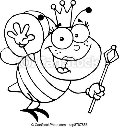 Outlined Queen Bee  - csp8787856