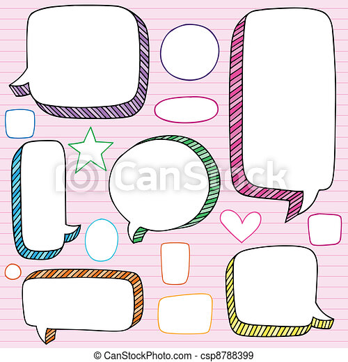 Speech Bubble Frames Doodles Vector - csp8788399