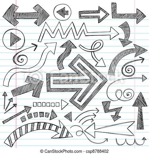 Arrows Sketchy Notebook Doodles Set - csp8788402