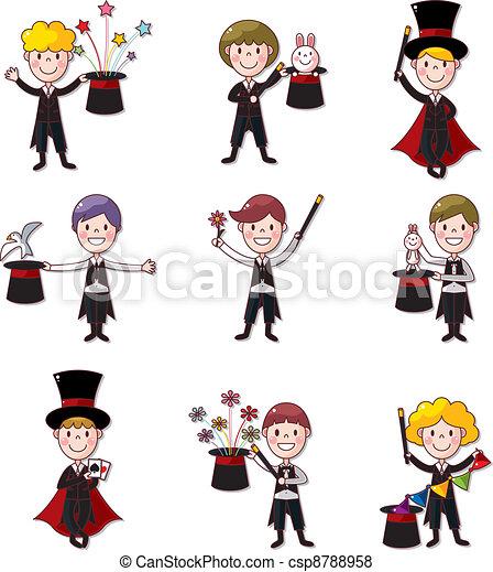 vecteur ensemble dessin anim magicien