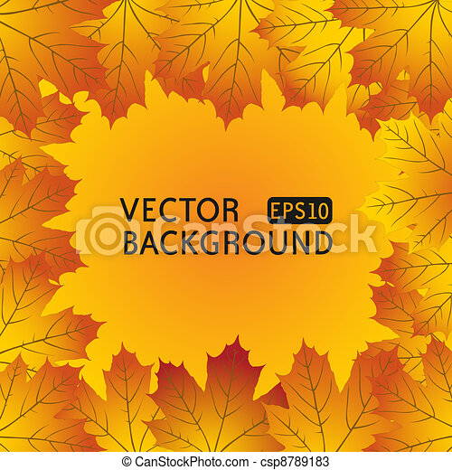 Autumn background with maple leaves - csp8789183