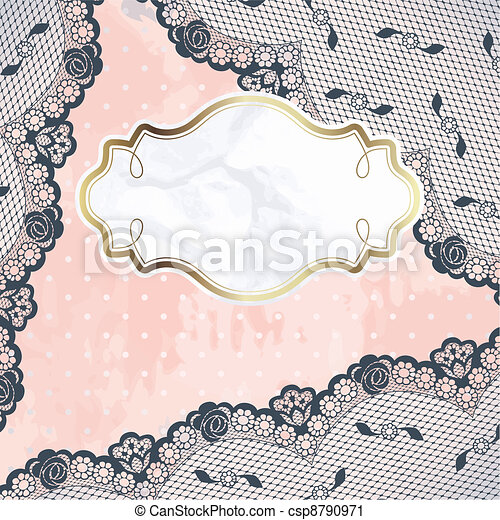 Pink label with charcoal lace - csp8790971