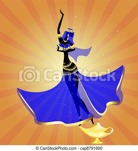 two oriental dancing girl - csp8791600