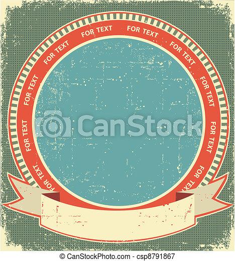 Vintage label background on old paper for design - csp8791867