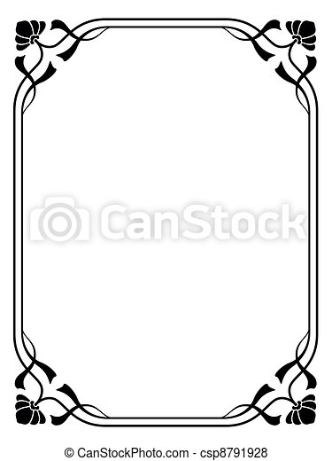 art nouveau ornamental decorative frame - csp8791928