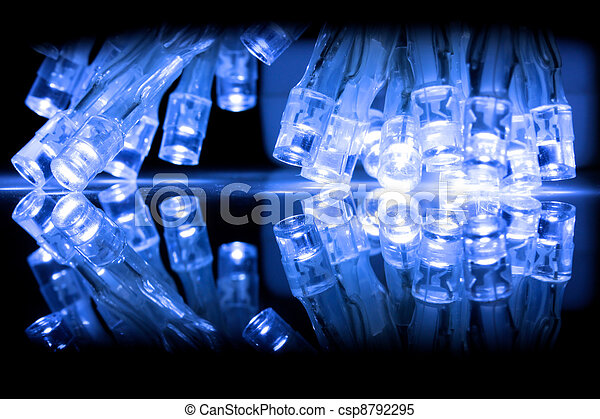 LED lights closeup with reflection - csp8792295