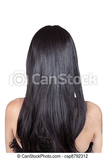 Rear view of girl with black silky hair  - csp8792312