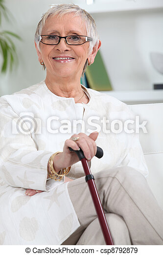 Elderly person smiling - csp8792879