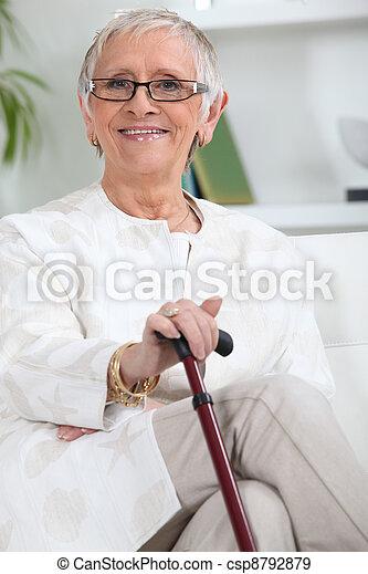 Elderly person smiling - csp8792879
