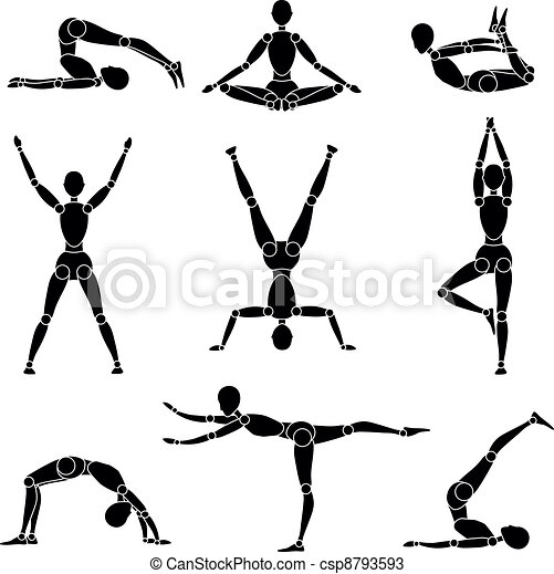 model man silhouette yoga gymnastics recreation - csp8793593