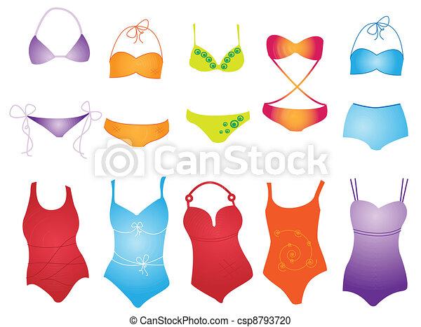 Clipart vecteur de maillot de bain diff rent maillot de bain sur blanc csp8793720 - Dessin de maillot de bain ...