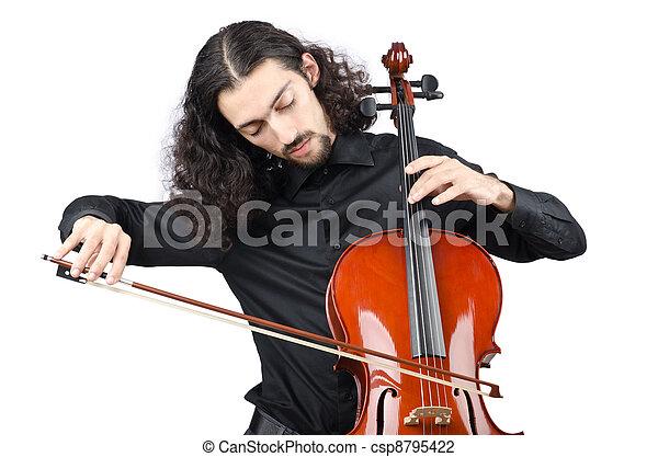 Man playing cello on white - csp8795422