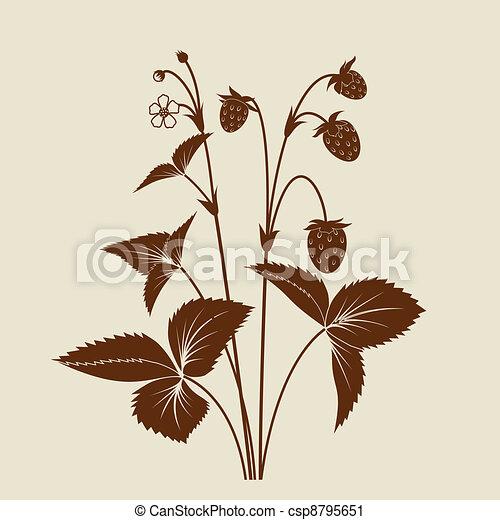 Strawberry shrub silhouette isolated - csp8795651