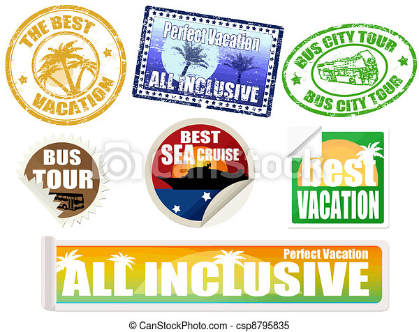 Set of vacation labels and stamps - csp8795835