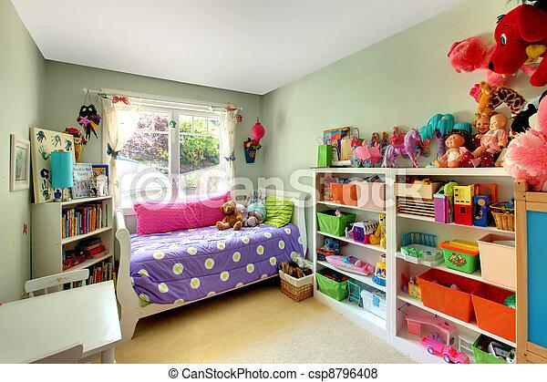 roxo, muitos, quarto, meninas, cama, brinquedos - csp8796408