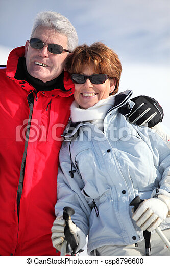 couple of elders wearing ski glasses at ski - csp8796600