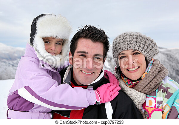 Family outing on a winter\'s day
