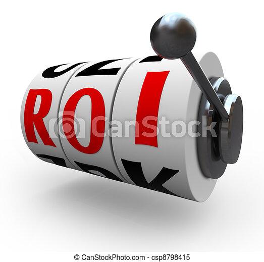 ROI Return on Investment Slot Machine Wheels - csp8798415