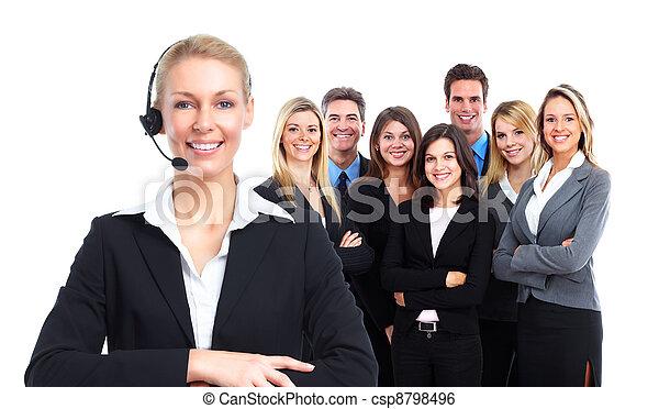 Stock beeld van roepen centrum secretaresse vrouw headsets groep csp8798496 zoek naar - Secretaresse witte ...