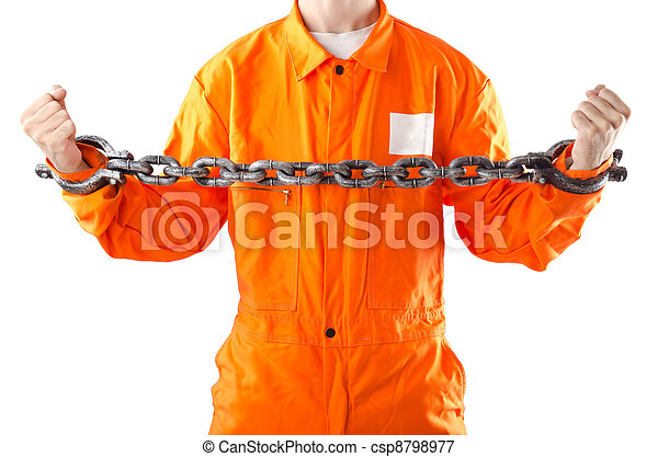 Criminal in orange robe in prison - csp8798977