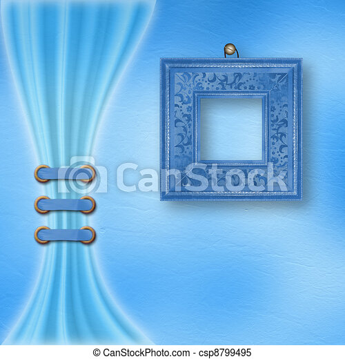 Delicate pastel background with ornate frame and light curtain - csp8799495