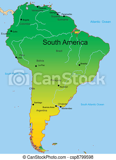 map of south america continent - csp8799598