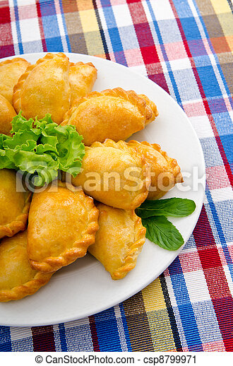 Meat patties in the plate - csp8799971
