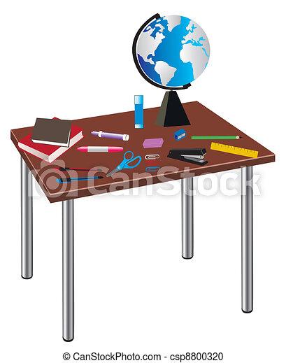 Tisch schule clipart  Vektor Clipart von tisch, schule - vektor, tisch, mit, schule ...