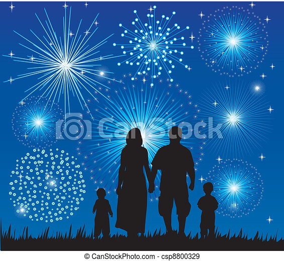 family watching fireworks - csp8800329
