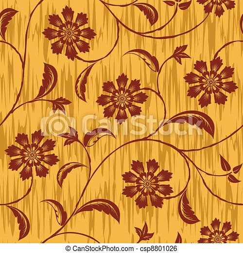 Flowers Seamless Vector Repeat Pattern - csp8801026