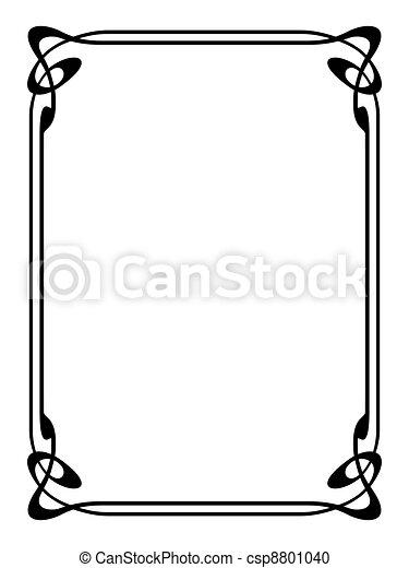art nouveau ornamental decorative frame - csp8801040