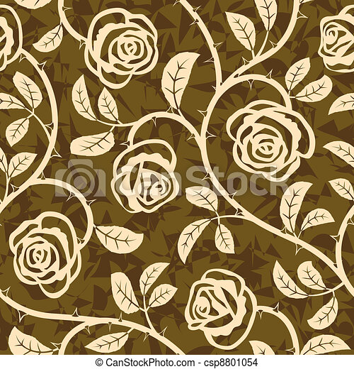 Rose Flowers Seamless Vector Repeat Pattern - csp8801054