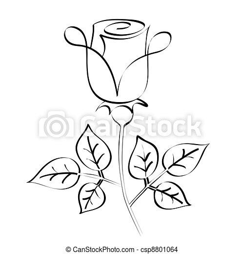 Black calligraphy rose silhouette - csp8801064