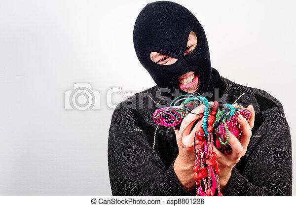 caro, bens, máscara, ladrão, segurando - csp8801236