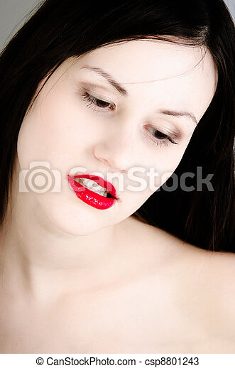 Closeup photo of a woman in selective colors - csp8801243