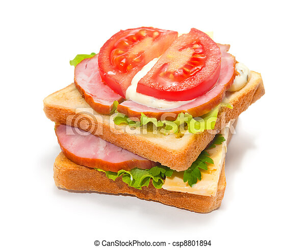 Ham sandwich with cheese, tomatoes - csp8801894