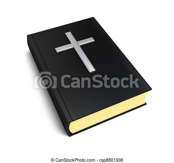 Stock Illustration - Bible book and silver cross - stock illustration ...