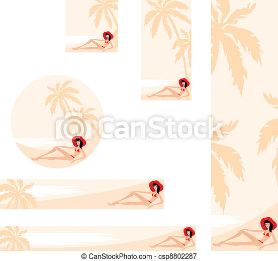 Banner with palm trees and woman - csp8802287