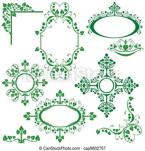 Set of floral elements - for design - csp8802757