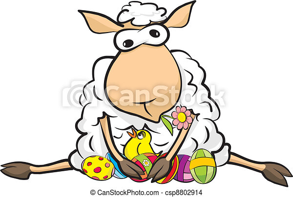 surprised sheep - happy Easter - csp8802914