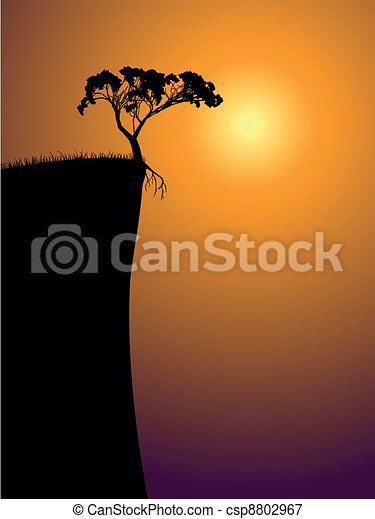 single lonely tree on a precipice - csp8802967