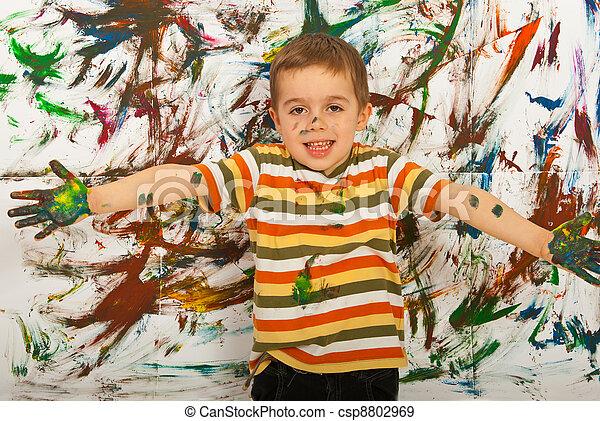 Happy painter child boy - csp8802969