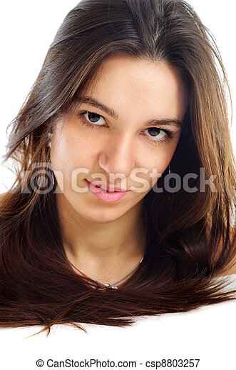 portrait of a pretty brunet young woman with healthy brown hair looking at camera isolated on white - healthcare and bodycare concept - csp8803257