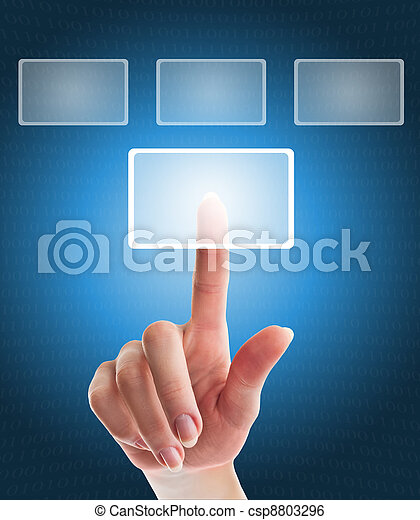 female hand pushing a button on a touch screen interface  - csp8803296