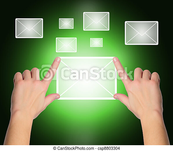 female hand pressing e-mail sign on a touch screen interface over black and blue background  - csp8803304