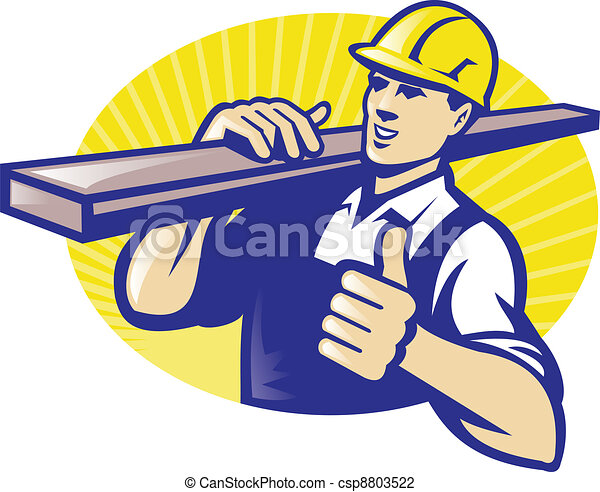 Carpenter Lumberyard Worker Thumbs Up - csp8803522