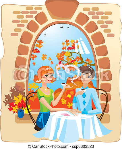 dating couple in the cafe. - csp8803523