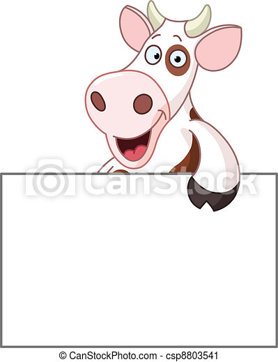Cow with sign - csp8803541