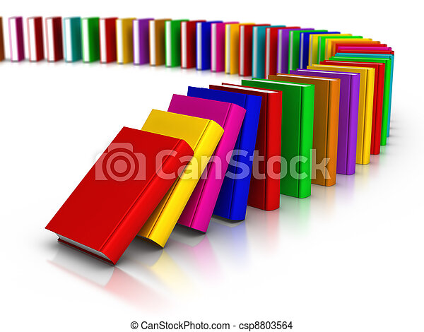 Row of Colourful Books Domino Effect - csp8803564